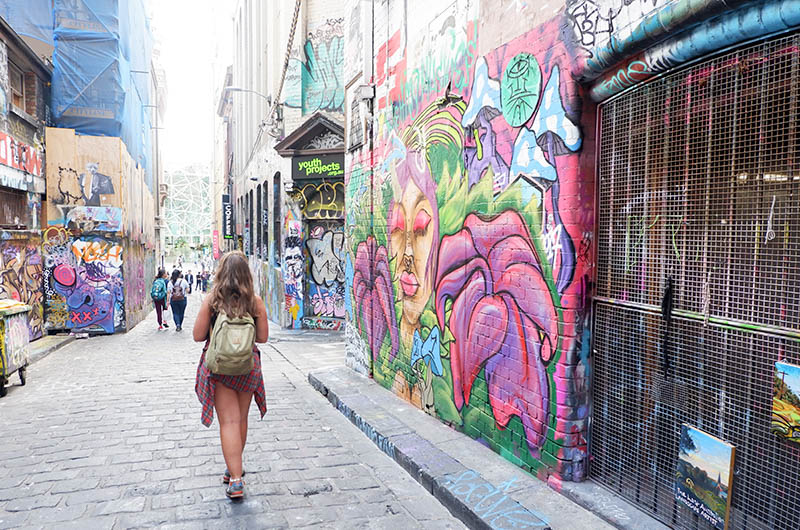 Girl Walking Down Melbourne Laneways