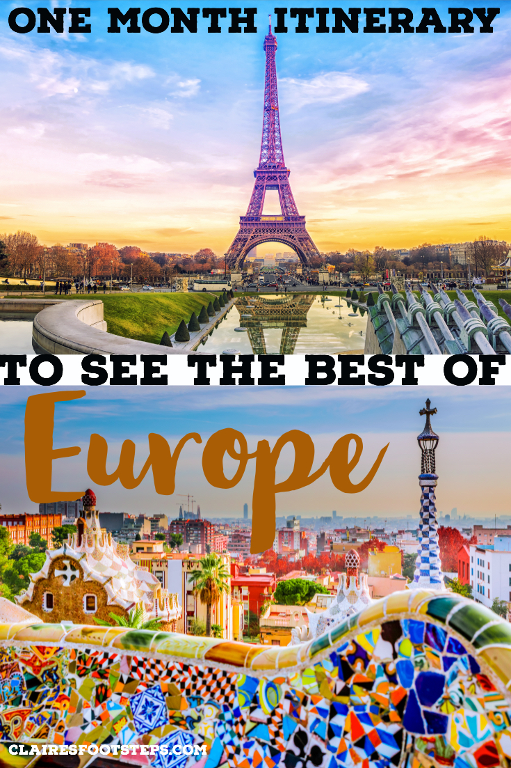 Check out this one month Europe travel itinerary to see make the most of your month in Europe. This itinerary shows you the best things to see in Europe, including London, Paris, Barcelona and Venice and shows you how you can travel Europe in a month. Thinking of backpacking Europe? Look no further than this 4 week Europe itinerary. #europe #travel #traintravel #itinerary