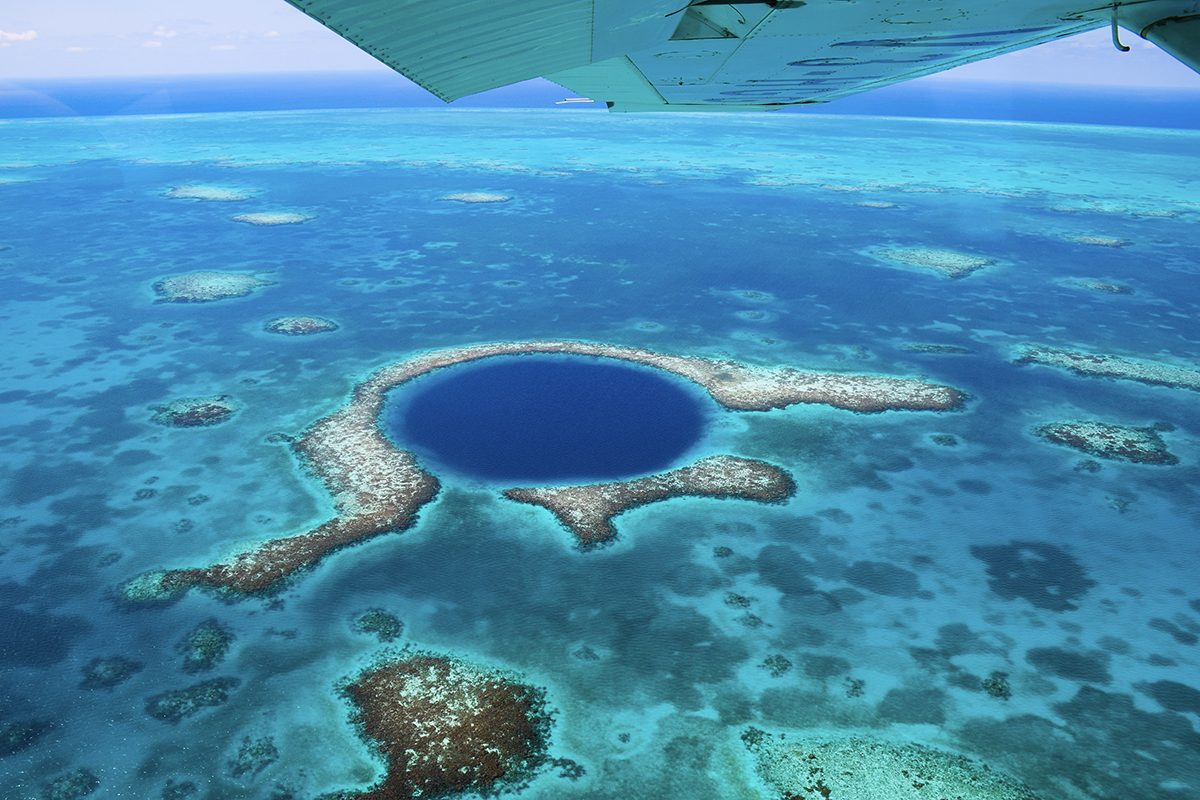 Blue hole in Belize, near Caye Caulker