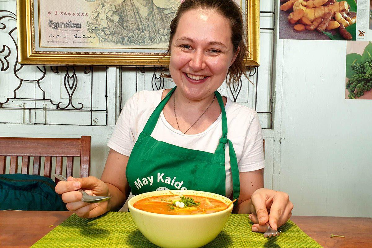 eating tom kha soup