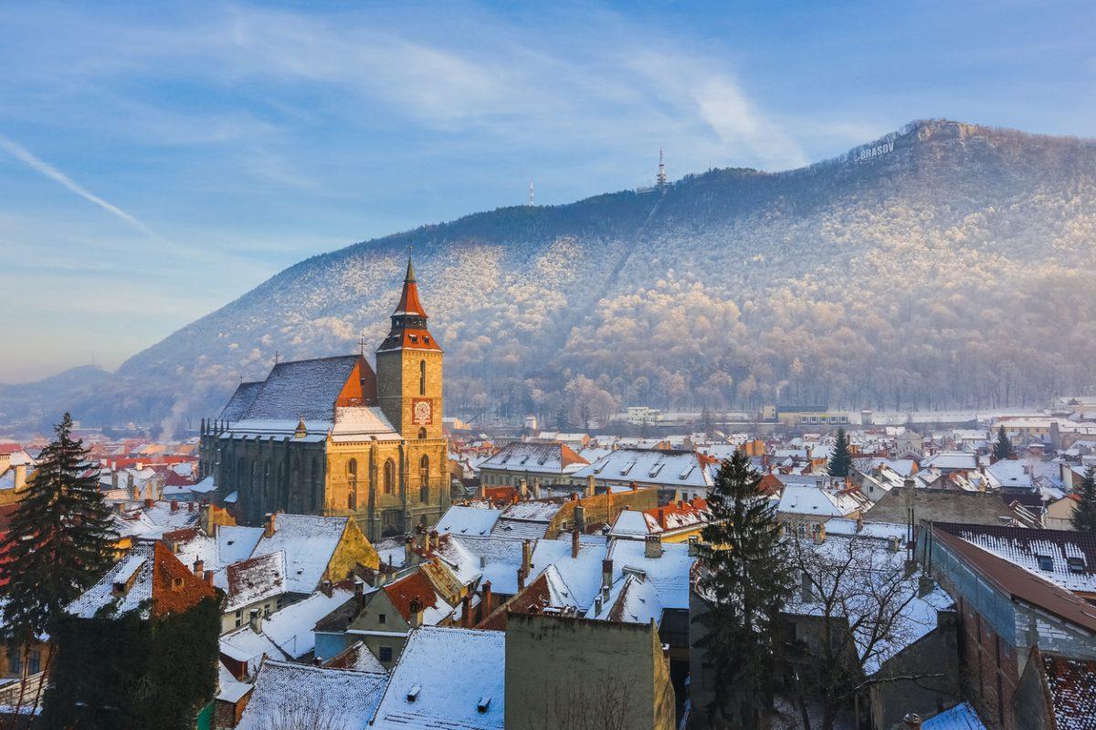 Winter panorama of downtown Brasov, Romania