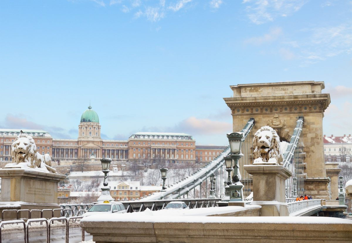 Chain Bridge and  Royal Palace  in Budapest at winter day Hungary