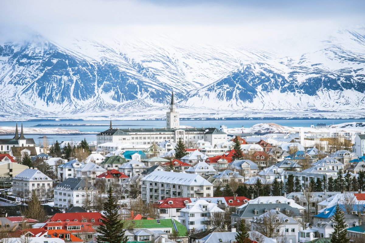 Reykjavik the capital city of iceland in winter view from above
